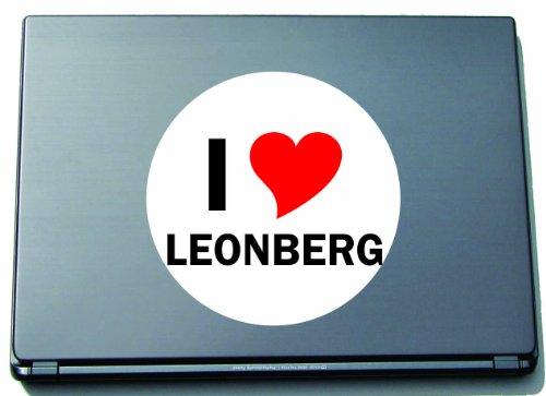 I Love Aufkleber Decal Sticker Laptopaufkleber Laptopskin 210 mm mit Stadtname LEONBERG