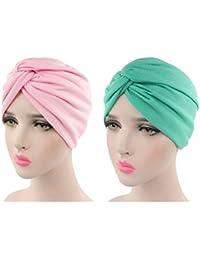 Sombrero Chemo de la Gorrita Tejida de Algodón de Las Mujeres Casquillo Suave del Abrigo de la Cabeza de la Gorra del Turbante de Slouchy para la Pérdida de Pelo 2 Piezas
