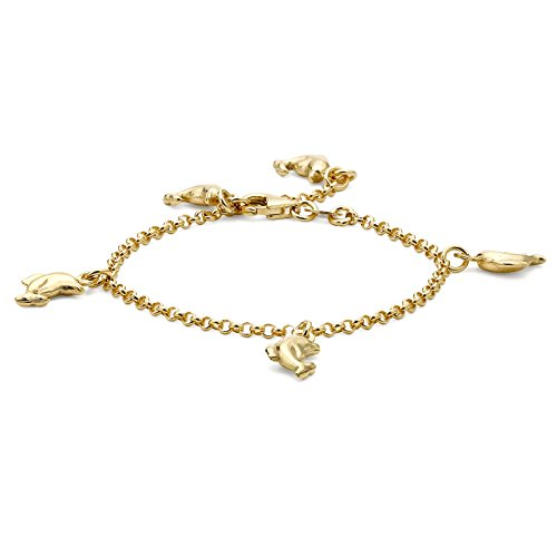 Carissima Gold 9ct Yellow Gold Dolphin Charm Belcher Bracelet of 15cm/6""