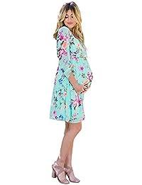 Cinnamou Vestidos Premamá Estampado Flores, Mujer Ropa de Gasa Embarazadas Vestido de Maternidad en Manga Largas para Fotos Fotografia Ropa de Verano Primavera