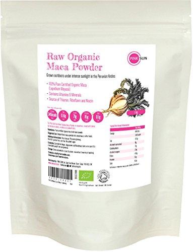 Maca polvere bio crudo 1 kg peruviana pura radice senza glutine, non gm, adatto per diete vegane e vegetariane - pink sun raw organic maca powder 1000g