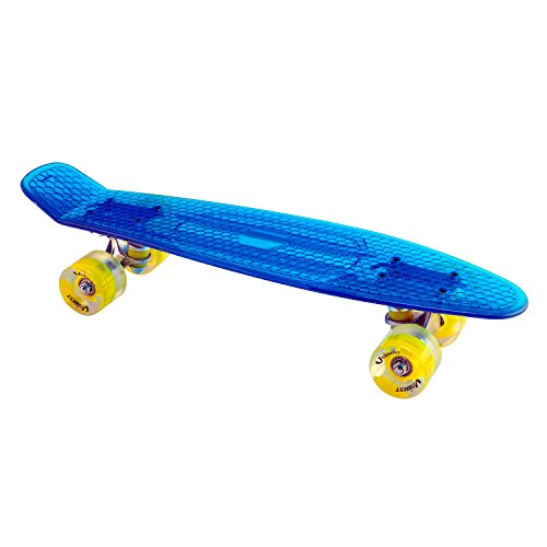 Unibest Skateboard Mini Cruiser Rollbrett Retro-Board transparent 57x15cm mit LED Leuchtrollen - blau