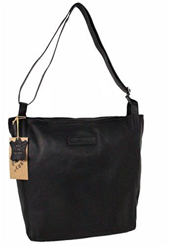 Hill Burry XL Shopper / Schultertasche / Umhängetasche aus naturgegerbtem geöltem Leder Vintage Look 3127S Schwarz