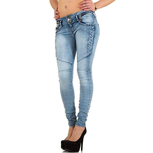 Damen Jeans, USED LOOK BIKER HÜFT SKINNY JEANS, KL-J-E1601 Blau