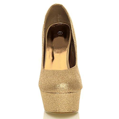 Ouro Brilho Partido Do Alto Do Tamanho Clássico Único De Sapatos Patamar De Salto Do Sapatos Bombas Senhoras Trabalho R4x6Pa