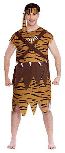 Karneval-Klamotten Höhlenmensch Kostüm Herren Neandertaler Kostüm Urmensch Steinzeit mit Kette Stirnband Karneval Herren-Kostüm Größe ()