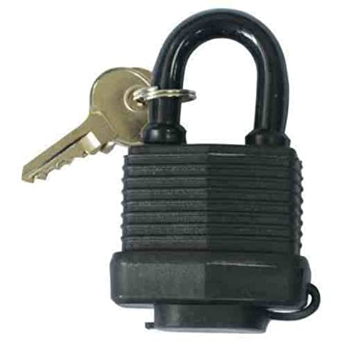 HOXO - 40MM BLACK WATERPROOF AND WEATHER RESISTANT HEAVY DUTY OUTDOOR SHACKLE PADLOCK WITH SET OF 2 KEYS. THOUSANDS OF KEY COMBINATIONS. PERFECT SECURITY LOCK FOR GATE, BIKE CHAIN, GARAGE DOOR, GARDEN SHED, MOUNTAIN BICYCLE, TOOLBOX, CABINET