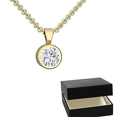 Kristall Anhänger Gold von AMOONIC mit SWAROVSKI Zirkonia Anhänger (Silber 925 vergoldet) +inkl Luxusetui Kettenanhänger rund vergoldet Zirkonia wie Diamant Anhängerkette Kette FF208VGGGZIFA45