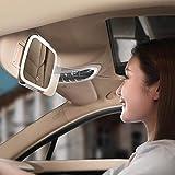 governingsoldiers Specchi Sole Visiera Parasole Auto, Specchio per Il Trucco Viaggiare con Illuminazione a LED, Specchio per Il Trucco Automatica sulla Clip Parasole soliti Accessori Auto,Rosa