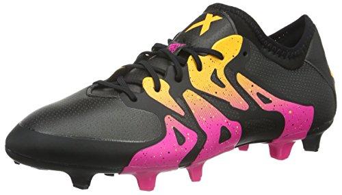 adidas Herren X 15.1 FG/AG Fußballschuhe, Schwarz (Core Black/Shock Pink/Solar Gold), 44 EU (Flache Stabilität Ball)