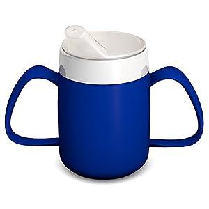 Ornamin 2-Henkel-Becher mit Trink-Trick 140 ml blau mit Schnabelaufsatz | ergonomische Schnabeltasse mit zwei Henkeln zum Trinken ohne den Kopf in den Nacken zu legen | Trinkhilfe, Schnabelbecher