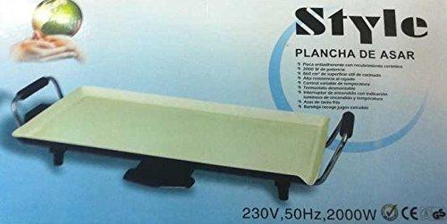 Style Plancha de Asar 2000W con Superficie 46x26xm de Ceramica Antiadherente para Cocinar Control de Temperatura Asas Bandeja Recoge Grasa