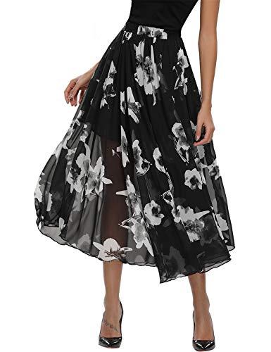 Abollria Damen Chiffon Rock Lange A-Linien Röcke Swing Maxirock mit Unterrock,Schwarz mit weiße Blumen,S