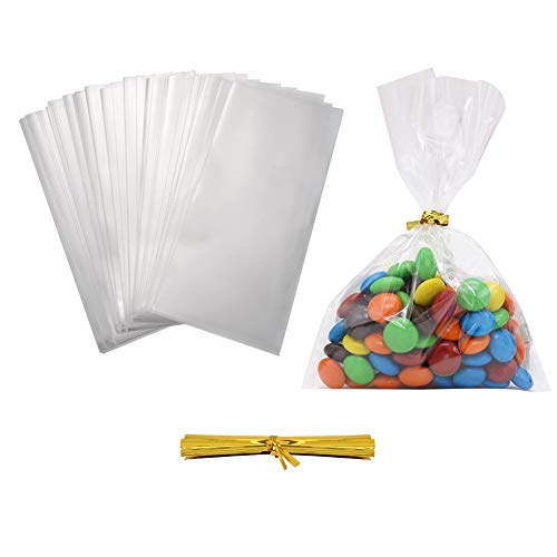 300 sacchetti trasparenti in cellophane per dolci, 10,2 x 15,2 cm, 1,4 ml, con 350 fascette attorcigliate, per matrimoni, feste, piccoli regali