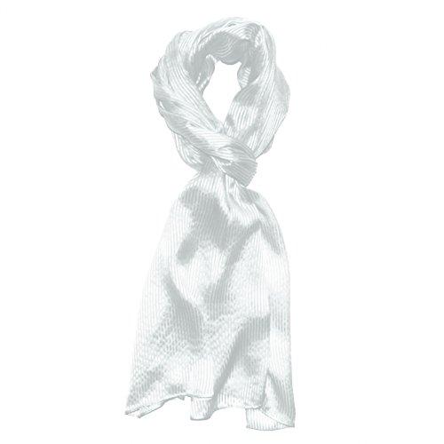 Lorenzo Cana Luxus Herren Seidenschal aufwändig gewebt mit feinen Satinstreifen leichter eleganter Schal 100% Seide 50 cm x 190 cm Schaltuch Männerschal weiss 8910411 -