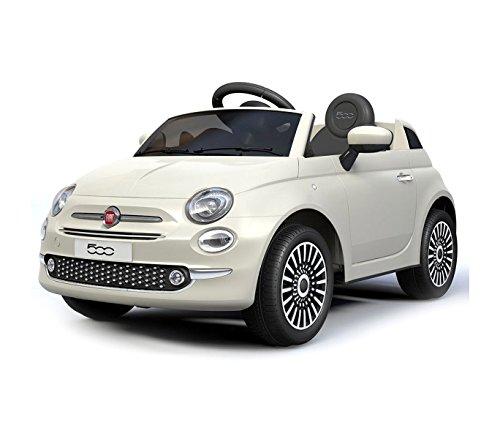 MEDIAWAVE store Auto bambini elettrica FIAT 500 cabrio B90106 sedile in pelle 12V telecomando (Bianco)