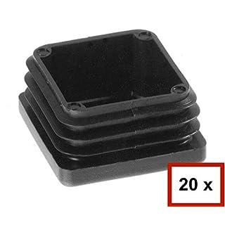 20 Stück Quadrat-Rohrstopfen, Lamellenstopfen Rohraußenmaß: 50x50mm, Rohrwandstärke: 2,6 bis 5mm, Grau, Möbelgleiter, Schutzkappen, Zaun, Pfosten, Quadratstopfen