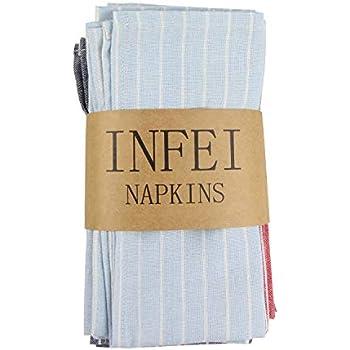Multicolore 43 x 43 cm Infei Lot de 12/serviettes de table ray/ées en lin et coton Blanc 43 x 43/cm 40 /% polyester Polyester Lin Coton