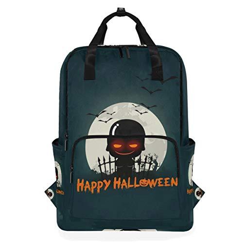 Rucksäcke für Schule, Buchtasche, Reisen, Wandern, Camping, Tagesrucksack für Jungen und Mädchen, 26,7 x 14 x 38,1 cm, für 35,6-cm-Laptops (Halloween-Soldaten)
