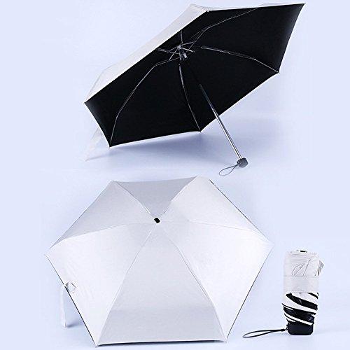 rm Sonnenschutz Reise Mini Anti-uv Regen Tragbar 6 Rippen Outdoor Skin Protect Winddicht Fabala Unisex Super Kraftvoll Langlebig 5 Faltbar (Pink) - Beige, Free Size ()