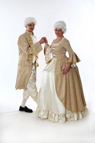 Rokoko Kleid für Damen Gr. XL Barock Kostüm gold/weiß THEATER QUALITÄT (Rokoko Kleid Kostüm)