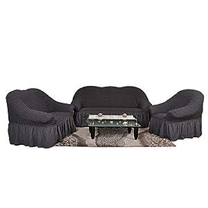 Sofaueberwurf elastisch / 3 Sitzer bezug / aus Baumwolle & Polyester in anthrazit / dunkelgrau