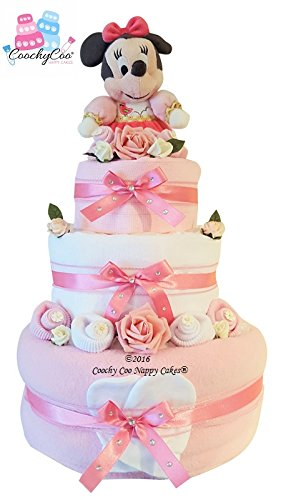 Preisvergleich Produktbild Pink Baby girl Nappy Cake Hamper Gift with Minnie Mouse with keepsake capsule (Three Tier) FREE DELIVERY