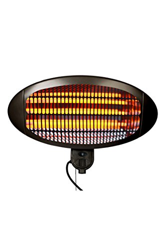 La Hacienda Wall Mounted Black 2000w Patio Heater - Quartz