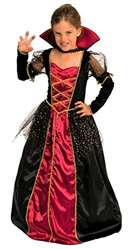 pirin - Vampir Kostüm Kinder Mädchen rot-schwarz-Gold - Halloween Vampirkostüm Kind Gr. 110 bis 140 (110/116) ()