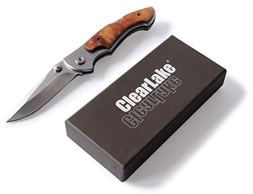 ClearLake® Taschenmesser mit Backlock, 7CR17, Gürtelclip, breite Klinge, Griff mit Holzeinlage, Klingenlänge 8 cm, Outdoor Messer, Klappmesser