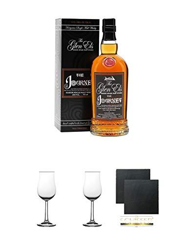 The Glen Els Journey Harzer Single Malt Whisky 0,7 Liter + 2 Bugatti Nosing Gläser mit Eichstrich 2cl und 4cl + 2 Schiefer Glasuntersetzer eckig ca. 9,5 cm Ø
