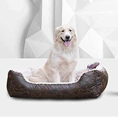 CZWYF Pet Bed, Dog Bed Large Dogs, Faux Leather And Brown Suede Fabric, Leather Bolster/Four Sizes by CZWYF