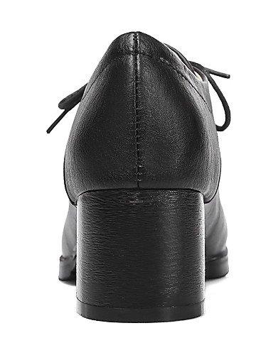 WSS 2016 Chaussures Femme-Extérieure / Bureau & Travail / Habillé-Noir / Blanc / Amande-Gros Talon-Talons / Confort / Bout Arrondi-Talons- black-us9 / eu40 / uk7 / cn41