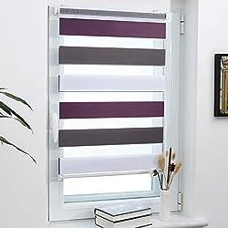 Grandekor Doppelrollo Duo Rollo Klemmfix ohne Bohren lichtdurchlässig und verdunkelnd Fensterollos Sonnenschutz für Fenster und Tür - Weiß-Anthrazit-Aubergine 50x150cm (BxH) / Stoffbreite 46cm
