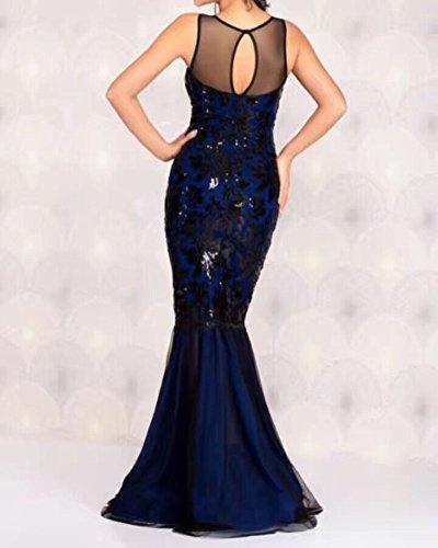 Damen Langer Abschnitt Des Pailletten-Abendkleid Tiefes V Kleid Sequinkleid Blau