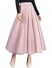 35e2f6ca980 FEOYA Jupe Plissée Femme en Tulle Casual Jupon Jupe Femme Ample Élastique  Taille Unique