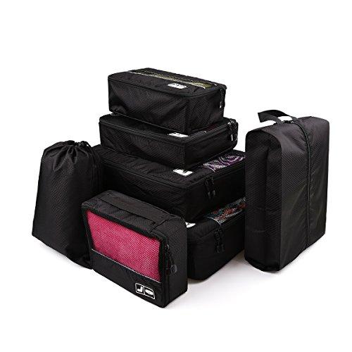 Upgrow 7 Teilig Set Kleidertaschen Set Kofferorganizer mit Wäschebeutel,Handgepäck, Seesäcke Packtaschen Set für Reise, Camping,Aufbewahrungstasche für Kleidung, Schuhe, Unterwäsche (Schwarz)