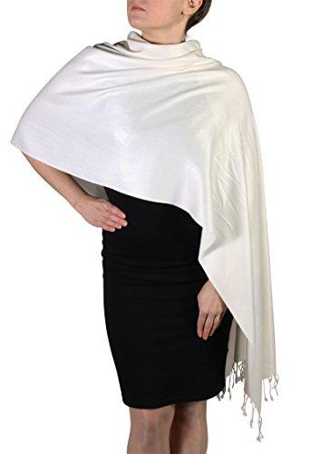 Pashmina Schal Tuch für Frauen - Quastenveredelung - Kostenloser Aufhänger (Über 20 Farben) Handgefertigt (Creme)