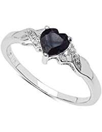 The Sapphire Ring Collection: 9ct White Gold Heart Shaped Sapphire with Diamond Set Shoulders Engagement Ring / Valentine gifts, Ring Size H,I,J,K,L,M,N,O,P,Q,R,S,T