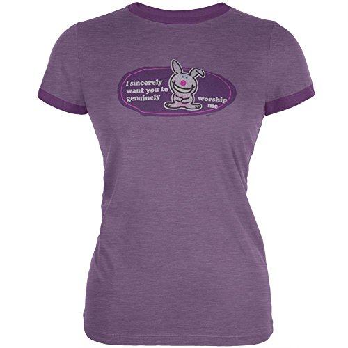 Happy Bunny - bete mich lila Juniors Ringer T-Shirt-Medium (Bunny Ringer)