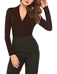 Parabler Damen Sexy V-Ausschnitt Kurzarm Tunika Blusen Oberteile Stretch T-Shirt  in Wickel 55baceb1d6