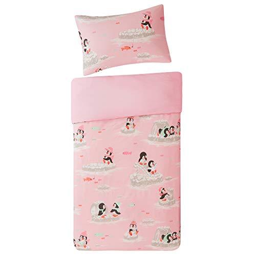 Kinder Bettwäsche 135x200cm Rosa 100% Baumwolle 2-teilig Bettbezug Kopfkissenbezug mit Fröhliche Pinguine Renforcé Mädchen Jugendliche Teenager Kinderbett Playing Penguins