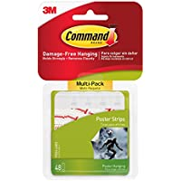 Command 3M Poster Adhesive Strip Value Pack, White, 48 Strips/Pack