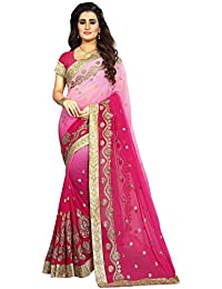 Vaidehi Fashion Women's Georgette Embroidery Saree With Blouse Piece(Diamond-Pink_Pink)