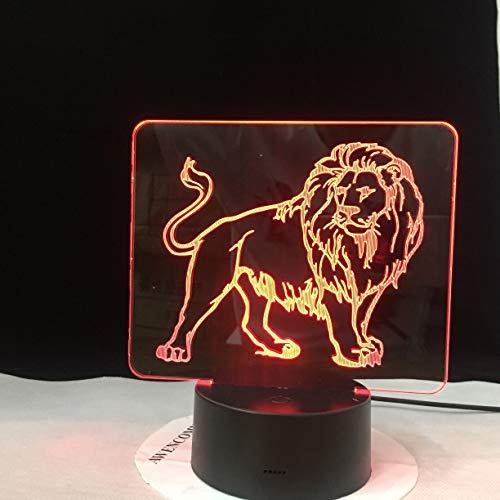 Männlicher Löwe Bild bunte LED 3D Vision Nachtlicht Touchment Control Farbe 3D Nacht Lampe Schreibtisch Licht Home Decor