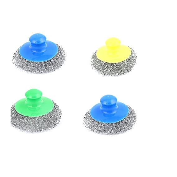 Lemish Set of 4 Utensil Stainless Steel Super Scrubber With Plastic Handle Dish Bowel Wire Scouring Pad Scrubber Cleaning Brush Cleaner