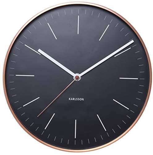Karlsson Wanduhr Minimal Schwarz Mit Rahmen Kupferfarben, Metall, Black, 5 x 27.5 x 27.5 cm