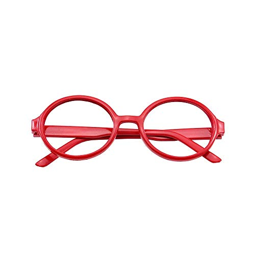Papamsy Vintage Fashion Unisex Kunststoff Runde Brillengestell Keine Linse Blau|5 Farbe|Rot