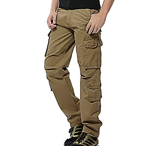 AYG Men's Cargo Work Trousers Cotton Pants (Khaki,36)