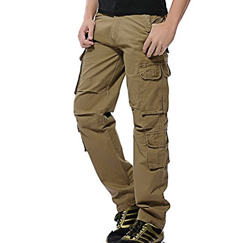 AYG Herren Cargo Hose Baumwolle Militär Hose(Khaki,36) (Arbeiten Dickies Kurz Jungen)